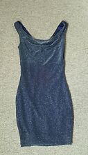 dark blue and silver metallic mini dress small stretchy bodycon