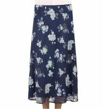 New Ex M&S Marks & Spencer Blue Floral Chiffon Lined Pull On Skirt 10 12 18 20