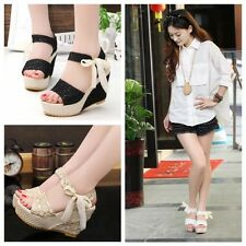 New Summer Fashion Ladies Lace Ribbon Fish Mouth Sweet Wedge High-heeled Sandals