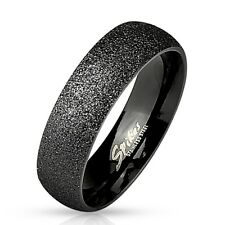Stainless Steel Black Sand-Blast Finish Wedding Band Ring Size 5-13