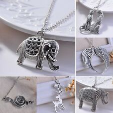 Retro Silver Elephant Leopard Wing Pendant Necklace Women Long Sweater Chain Hot