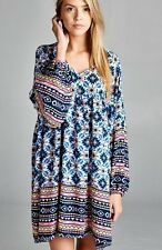 CUTE BLUE AZTEC BOHO GYPSY BABYDOLL BLOUSON SHIRT TUNIC or MINI DRESS S M L