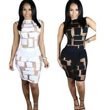 Sexy Women Bandage Bodycon Mesh Night Club Party Queen:Cocktail Mini Hot Dress