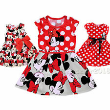 Cute Minnie Mouse Floral Princess Outfit Dress For 1-7 Years Todder Baby Girls