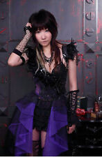 Black  purple visual kei Dress cyber feathers  chains RQBL 21079