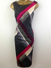 M&S Black Pink Grey Wiggle Shift Evening Dress Womens Summer Party Size 14