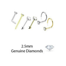 2.5mm Genuine Real Diamond Nose Ring Stud L Bend Screw Yellow Gold White Gold