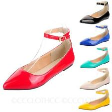Ankle strap sandals shoes Buckle Pointed Toe Ballerinas Dolly Ballet Flats Size