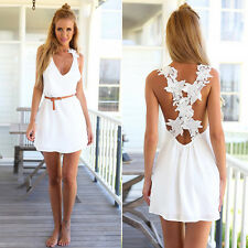 Lady Fashion Chiffon Lace Summer Beach Dress Cross Backless Sexy V-Neck Sundress