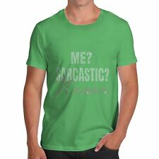Twisted Envy Men's Me? Sarcastic Never Rhinestone Diamante T-Shirt