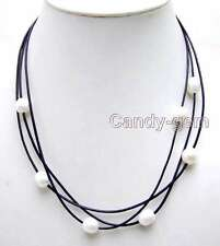 "SALE Big 10-11mm White Rice Natural FW Pearl 3 Strands 19-21"" necklace -nec5935"