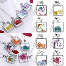 Square Locket Living Memory Dried Flower Pendant Necklace Long Sweater Chain Hot
