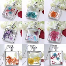 Square Locket Dried Flower Pendant Necklace Womens Long Chain Living Memory Gift