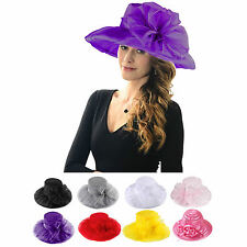 Lady Satin Wide Brim Organza Church Hat Royal Ascot Kentucky Derby Wedding Party
