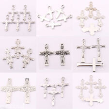 Wholesale 25/50Pcs Retro Tibet Silver Cross Spacer Pendant Craft Jewelry Finding