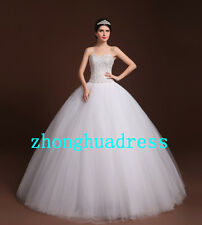 New Stock Beading Crystal White/Ivory Ball Gown Wedding Dress Stock Size 4-22