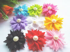 20PCs ribbon flower with beads bows appliques wedding sewing DIY crafts mix