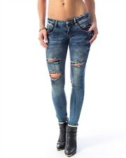 Blue Slashed DESTROYED Skinny Jeans Low Rise DISTRESSED Pants STRETCH sz 0 - 13