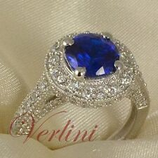 2.75 Ct Round Cut Sterling Silver Halo Ring Blue Sapphire Simulated Size 5-10