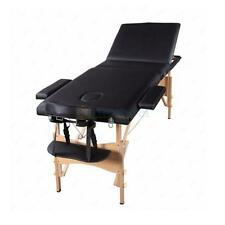 3 Fold Massage Table Bed Portable W/2Pillows+Sheet+Cradle Cover Black/White