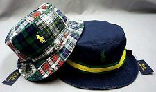 NWT $55 POLO RALPH LAUREN BUCKET HAT CAP Mens Patchwork REVERSIBLE New