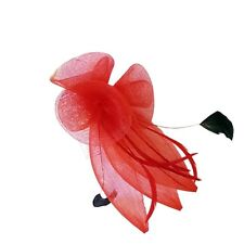 Coiled Mesh Flowers & Feather Comb Fascinator Wedding Races - Hair Accessories