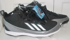 NWT Mens Black Adidas Power Alley Metal Mid Baseball Cleats Shoes Size 12 & 13