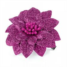 Small Pink Glitter Design Flower Hair Beak Clip Slide Grip - Hair Accessories