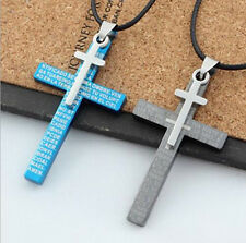 Men Titanium Steel Blue/Black Bible Cross Charm Pendant Necklace Retro Jewelry
