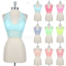 Cropped Floral Lace Halter Top with Padded Bra Cups Sexy Stylish Club Wear Span