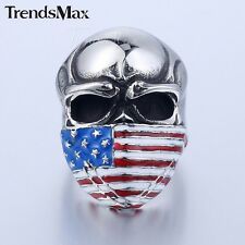Fashion Mens Ring American Flag Silver Tone 316L  Stainless Steel Skull Ring NEW