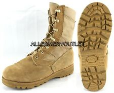 Lot US Military HOT WEATHER COMBAT BOOTS Vibram Soles Desert Tan USA Made MINT
