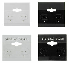 """100Pc Black Grey Sterling Silver Plain Hanging 1.5"""" x 1.5"""" Jewelry Earring Cards"""