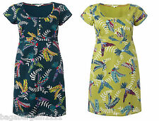 NEW WHITE STUFF GREEN BLUE TEAL RED FLYING PARROTS SUMMER TUNIC DRESS SIZE 8-18