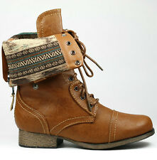 Whisky Brown Faux Leather Fold Down Plaid Mid-Calf Lace-Up Military Combat Boots