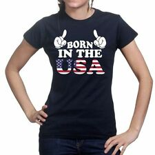 Born in The USA American Flag 4th Of July New Ladies Womens T shirt