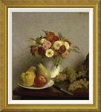 'Flowers and Fruit Cuisine' by Henri Fantin-Latour Framed Painting Print