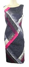 Marks & Spencer Pink & Grey Print Fitted Shift Dress Sleeveless with Scoop Neckl