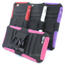 For Apple iPhone 5 Rugged Hybrid Armor Hard Soft Dual Layer Case Cover Kickstand