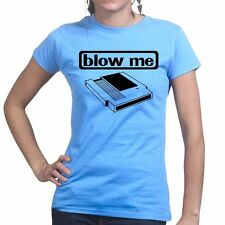 Blow Me Cassette Geek Nerd Funny Retro Gaming Console Ladies Womens T shirt