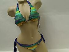 LADIES 2 PC BIKINI SIDE TIE ABS 6 8 NWT MULTI COLORED SWIMSUIT 9719