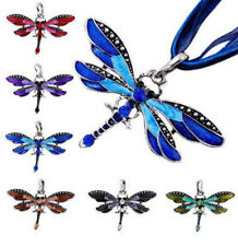 Retro Dragonfly Silver Necklace Crystal Pendant Long Sweater Rhinestone Chain