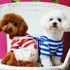 Pet Dog Cat Puppy Striped Clothes Romper Jumpsuit Hoodie Coat Costume Apparel