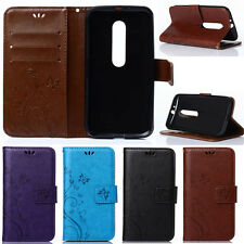 Magnetic Flip PU Leather Wallet Card Slots Stand Cover Case For Motorola Phones