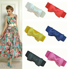 Fashion Women Belt Bowknot Elastic Bow Wide Stretch Buckle Waistband Waist Belts