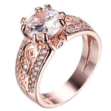 Round White Sapphire CZ Wedding Ring 10KT Rose Gold Filled Jewelry Size5/6/7/8/9