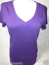 TOMMY HILFIGER womens deep purple v- neck tee top new nwt