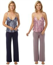 Ladies Snake Skin Satin Pyjamas, Luxury Soft Silk PJs, Mink Navy, Size 10-20