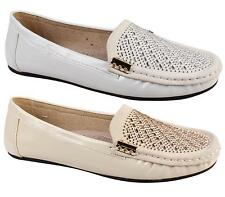 LADIES COMFORT FLAT JEWEL FAUX LEATHER SLIP ON MOCCASIN LOAFER SHOES SIZE