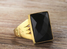 Mens Ring 10k Solid Yellow Gold Natural Black Onyx Ring Mans 5-14 US sizes